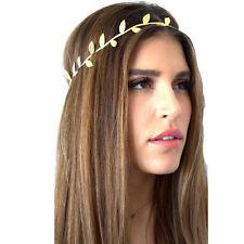 2Pcs Bronzing Leaves Women Headband Elastics Hair Head Band Gold Adult Size