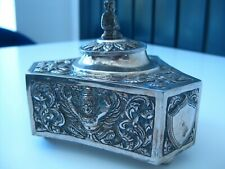 1930's Siam Silver Repousse ink Well Buddha Armorial Panel
