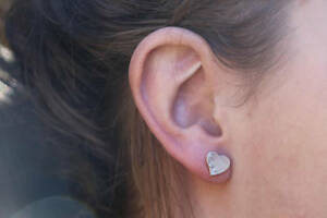 Mother Of Pearl Heart Earrings New Studs Sterling Silver Jewelry Free Shipping