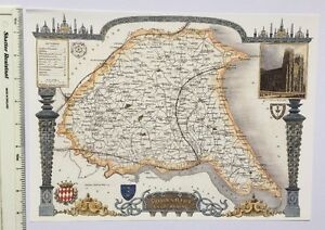 Old Antique map East Yorkshire, Humberside, England: c1830's: Moule  Reprint