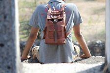 Men's NEW Genuine Leather Vintage Laptop Backpack Rucksack Messenger Bag Satchel