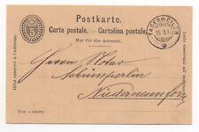1895 SWITZERLAND Cover TAGERWEILEN to NIEDERNEUNFORN Stationery Postcard 5c