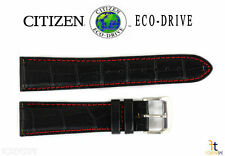 Citizen Eco-Drive CA0080-03E 21mm Black Leather Watch Band Strap S069149