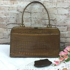 Vintage Crocodile/Alligator Handbag 40s/50s Eclair Pocket Zipper Snakeskin Purse