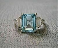 4Ct Aquamarine Cut Emerald Cut & Diamond Engagement Ring 14k White Gold Finish