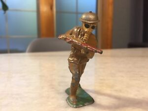 Dime Store Lead Figurine: Gas-Mask Soldier, Apocalyptic Macabre