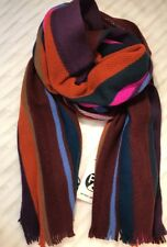 Paul Smith Men Scarf Made In Germany 100% Wool Knitted Wide Airtex Dark Red