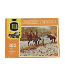 Vintage Whitman Guild Puzzle - Packing In - Cowboy Wild West Decor Horses Hobby