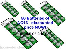 50 X AG13 LR44 SR44 L1154 357 A76 QUALITY ALKALINE BUTTON / COIN CELLS BATTERIES