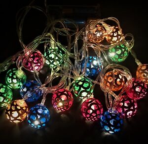 20pc Christmas String Decoration Lights LED Rainbow Colour Metal Ball 4m Long