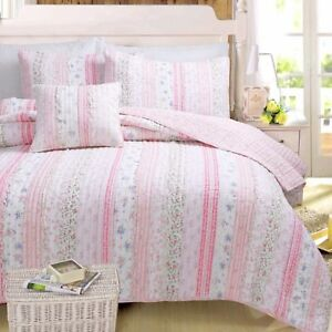 Pink Romantic Embroidered Chic Lace 100% Cotton Quilt Set, Bedspread, Coverlet