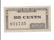 Japan no date Post Ww2 Foreign Trade Payment Certificate 25 Cents Black Sb 1003