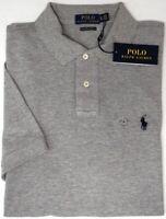 Polo Ralph Lauren Gray Shirt Mens Short Sleeve Cotton Mesh Custom Slim NEW $85