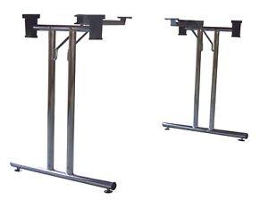 Coppia gambe per tavolo pieghevoli adattabili, in acciaio, altezza regolabile