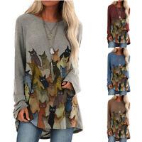 Women Long Sleeve Crew Neck Cat Print T Shirt Tee Loose Tunic Casual Tops Blouse
