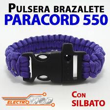 Pulsera Paracord 550 VIOLETA silbato supervivencia cuerda montaña