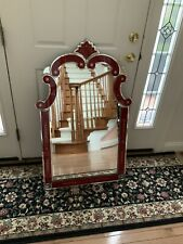 Beautiful Venetian Style Solid Red Glass Mirror For Formal Decor