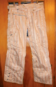 Smarty Striped Snowboard Pants 686 Size Small in Peach & Beige