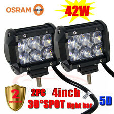 "2PC 42W 4""INCH 5D OSRAM LED SPOT Work Light Bar Offroad Driving Lamp 4WD Truck"