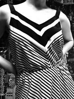 Basque Dress, Size 14, Black and White Striped