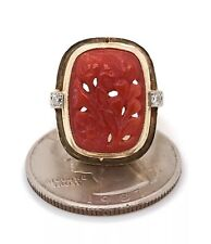 Vintage Solid 14K Yellow Gold 5.06 Ct Red Curved Coral and Diamond Women's Ring