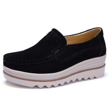 New Womens Flats Shoes Platform Sneaker PU Leather Slip on Creeper Moccasin Size