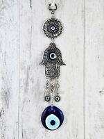 Turkish Greek Blue Evil Eye Mati Protection Hamsa Hand Hanging Wall Decor