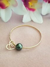 2mm Gold Peacock Green Pearl Hammered Bangle Bracelet Size 9 High Quality
