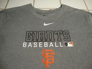 NIKE San Francisco Giants SF Logo Athletic Shirt Gray Short Sleeve Mens Size XL