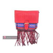 Borse da donna in tela rossa con bottone magnetico