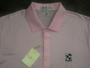 Men's NWT FAIRWAY & GREENE Golf Polo XL PINK w/LITTLE CLUB GULF STREAM Golf Logo