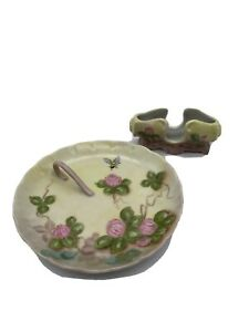 Vintage Porcelain Butter Tray Dish Plate with Handle & Knife Rest Floral Bee