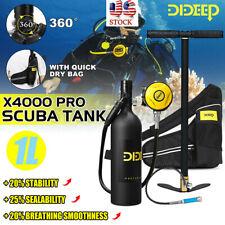 DIDEEP X400 Pro 1L Scuba Tank Diving Oxygen Dive Equipment Inflator Pump Kit US