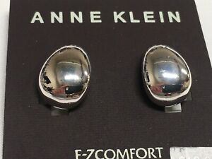 """Anne Klein Polished Drop EZ-Comfort Clip Silver Plated Earrings 3/4"""" New AN9"""