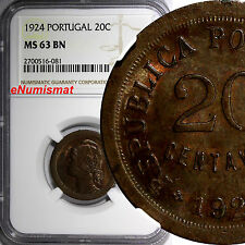 Portugal Bronze 1924 20 Centavos NGC MS63 BN 2 YEAR TYPE  KM# 574