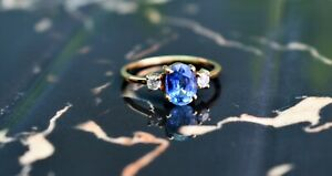 Natural Amazing Diamond & Tanzanite Gemstone Jewelry 18k Yellow Gold Ring Size 8