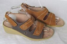 Cotton Traders Ladies Tan Brown Wedge Sandals Size 7