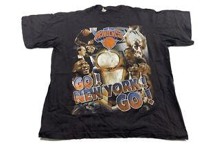 Vintage New York Knicks Rap Tee T Shirt Hip Hop Ewing Sprewell Houston Bay Club