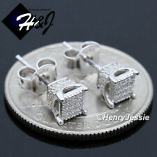 MEN 925 STERLING SILVER SQUARE 10MM LAB DIAMOND ICED OUT GOLD STUD EARRING*EG22