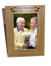 Felice anniversario 60 anni in legno Cornice foto 5x7-INCISIONE GRATUITA