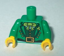 TORSO M004 Lego Male Green Suit Lime Bow Tie & Gold Belt Buckle Leprechaun NEW