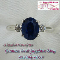 Oval SAPPHIRE Ring-Rough Cut in SOLID 925 Sterling Silver