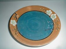 Japanese Luster Lusterware Peach Blue White Cherry Blossom Saucer-Japan (sau11)
