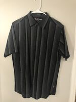 Airwalk Mens M Short Sleeve Black Striped Button Down Shirt EUC