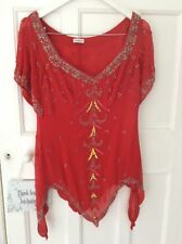 GORGEOUS RED BEAD & SEQUIN EMBELLISHED TOP. UK 12, EUR 40 CRUISE HOLIDAY