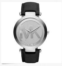 Michael Kors Ladies Gold Logo Dial Black Leather Band Watch MK2458