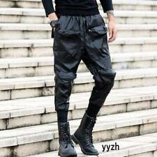 Motorcycle Mens Faux Leather Biker Harem Pants Trousers Pocket Slim Casual Pant