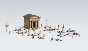 Archistories Z Scale 408181 Cemetery Graveyard Mausoleum Graves Kit $0 SHIP