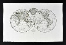 1812 Malte Brun Tardieu Map World in Hemispheres - America Asia Australia Europe