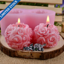 Nicole Flexible 3D Rose Flower Ball Shaped Silicone Decorative Soap Candle Molds